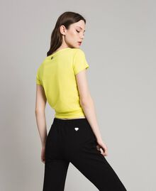 "Cropped T-shirt with heart ""Lemon Juice"" Yellow Woman 191LB23MM-03"