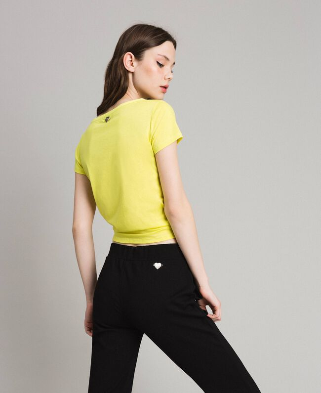 """Cropped T-shirt with heart """"Lemon Juice"""" Yellow Woman 191LB23MM-03"""