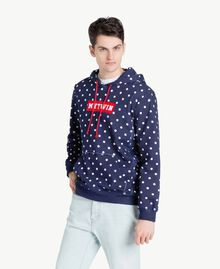 Sweat-shirt pois Bleu Blackout Homme US8251-02
