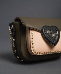 Two-tone faux leather shoulder bag with studs