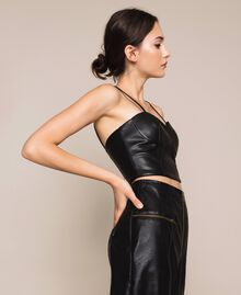 Faux leather bustier top Black Woman 201MP2045-01