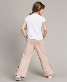 T-shirt en jersey orné de dentelle avec imprimé Blanc Enfant 191GJ2040-03