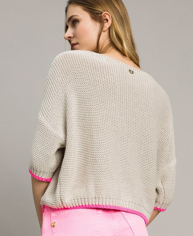 """V-neck jumper with contrast trims """"Milkway"""" Beige Woman 191LL37NN-03"""