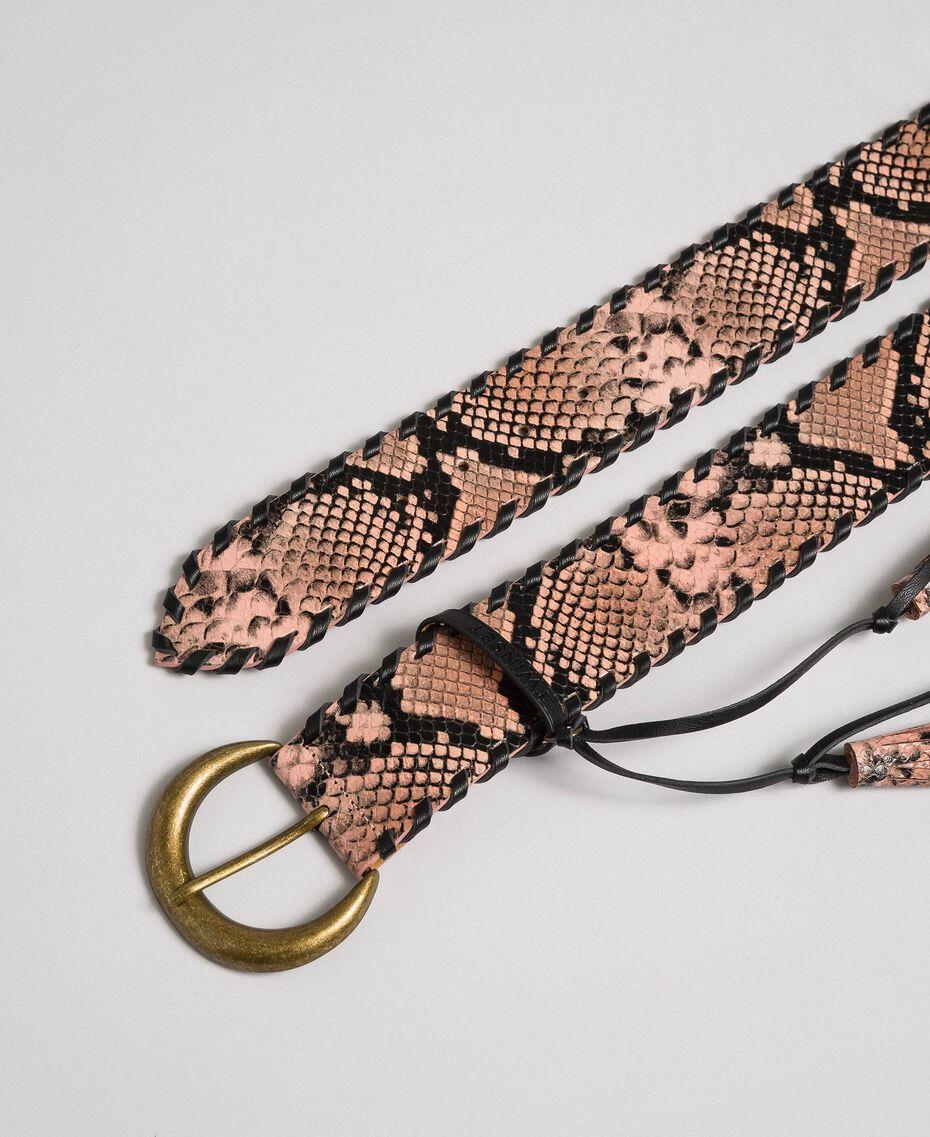 "Python print leather belt, regular ""Anthracite"" Grey Python Print Woman 192TA4301-02"