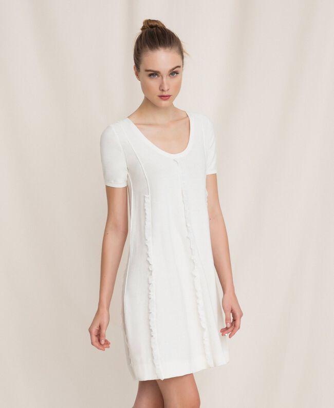 Dress with stitching and frills White Woman 201ST3066-01