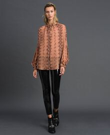 Animal print georgette blouse Canyon Pink Python Print Woman 192TT2272-01