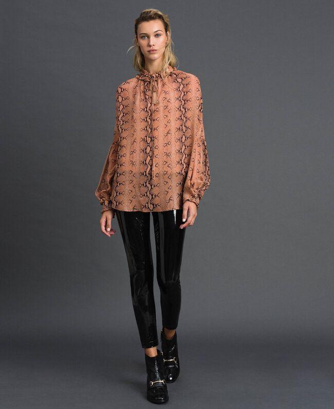 Animal print georgette blouse Canyon Pink Python Print Woman 192TT2272-01