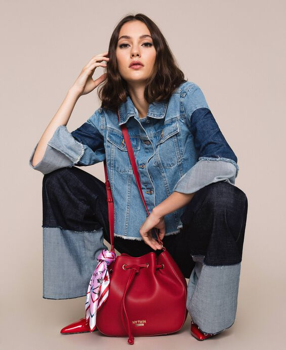 Faux leather bucket bag with scarf