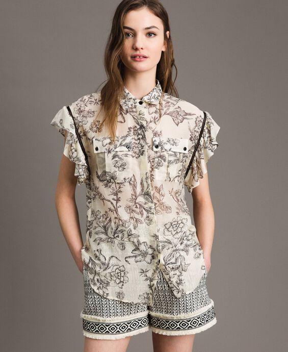 Camisa estampada de mezcla de seda