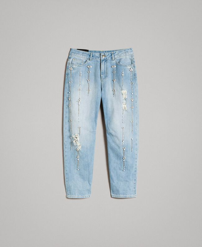 Girlfriend jeans with rhinestones and stones Denim Blue Woman 191MT2180-0S
