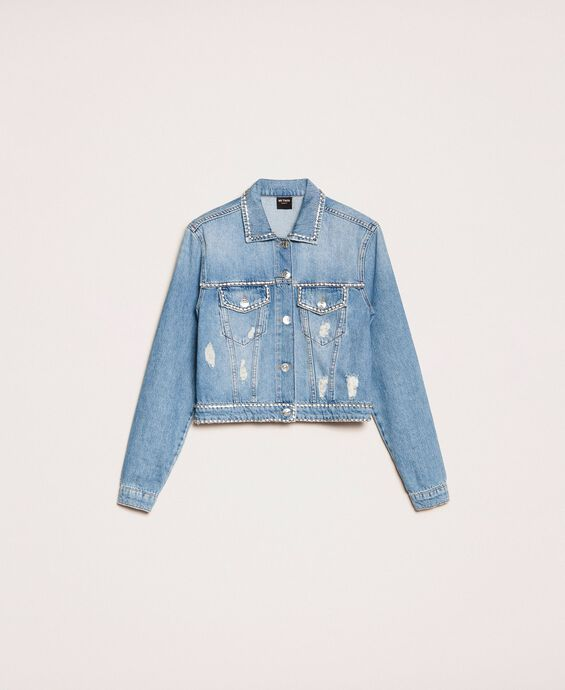 Denim jacket with rhinestones