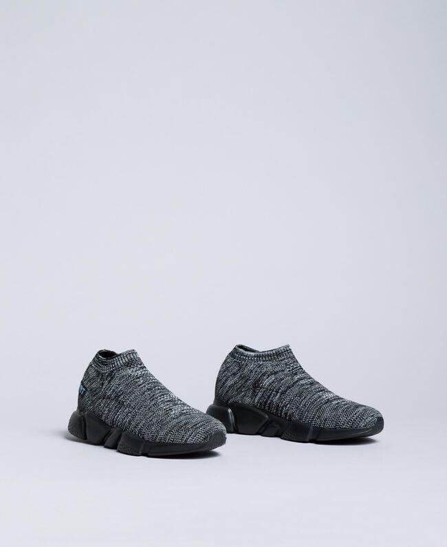 Slip-on-Sneaker aus Strickstoff Dunkelgrau-Mélange Mann UA8C91-03