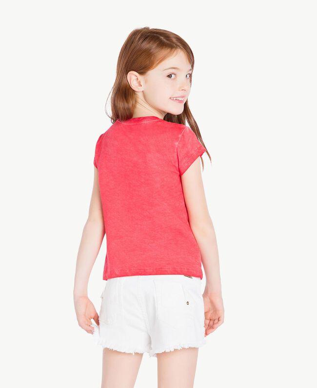 T-Shirt mit Print Zweifarbig Granatapfelrot / Blütenknospenrosa Kind GS821A-04