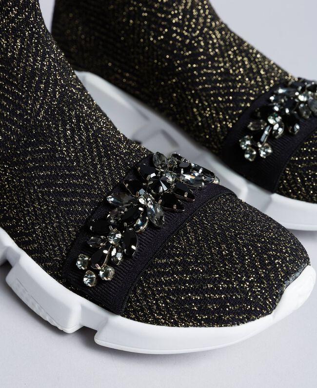 Sneakers in tessuto stretch con castoni Nero Donna CA8TNC-04