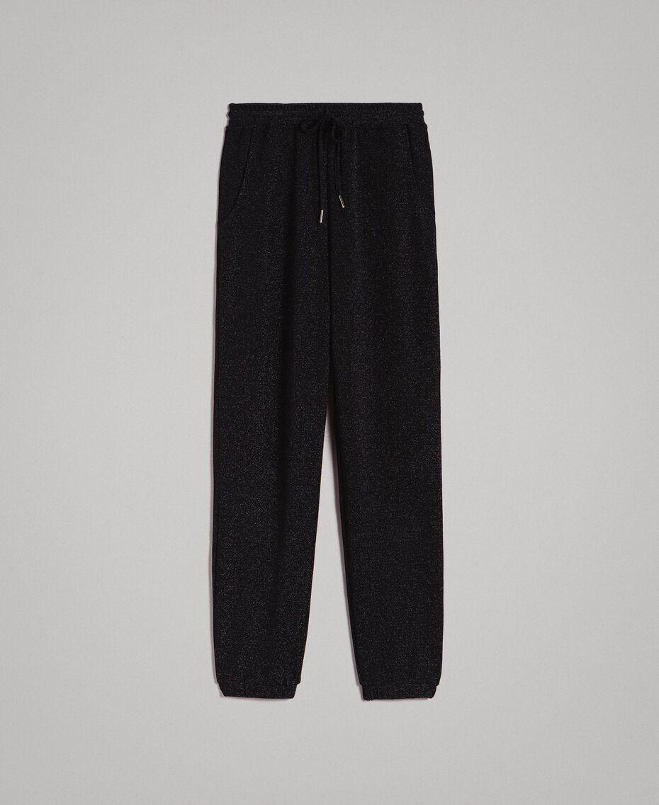 Pantaloni jogging in lurex Nero Donna 191MP2026-0S