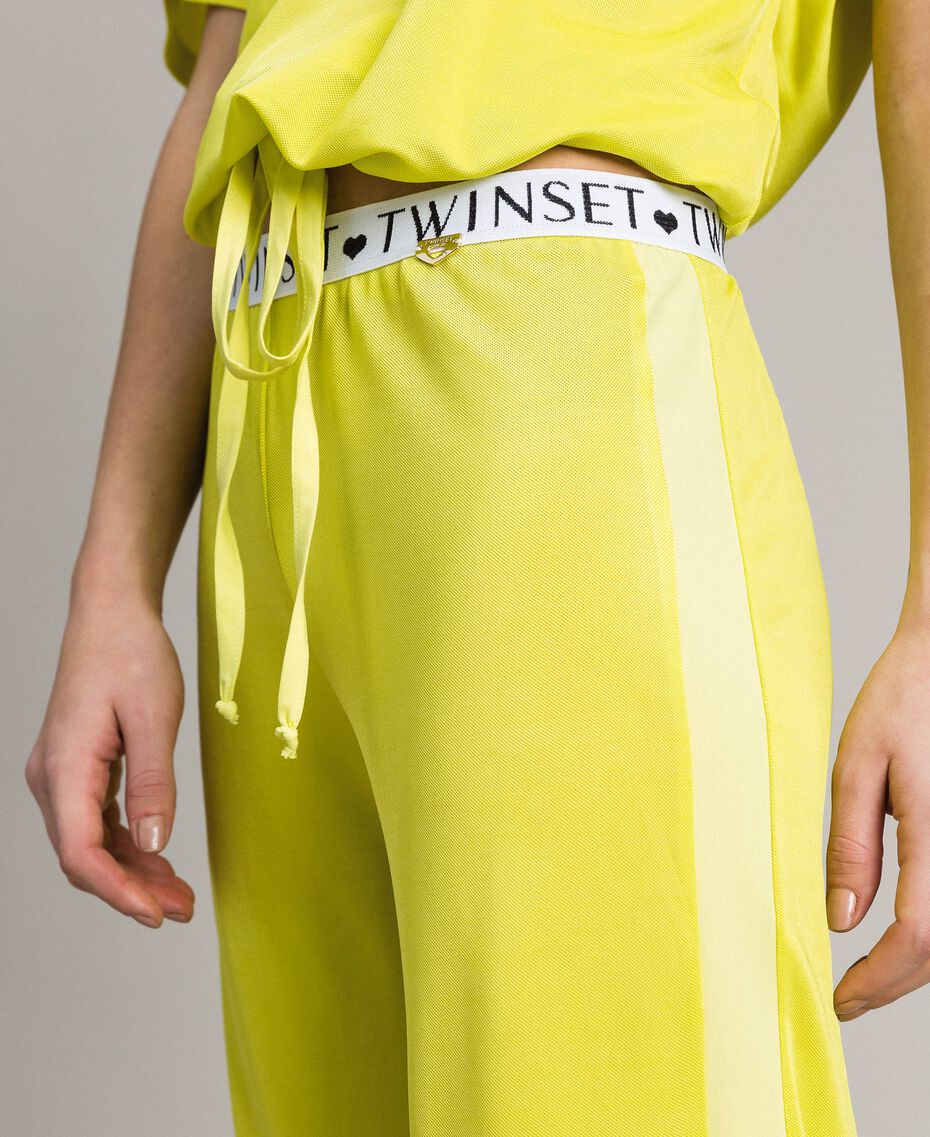 """Trousers with side bands """"Lemon Juice"""" Yellow Woman 191LL23KK-01"""