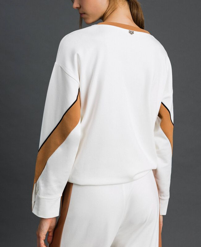"Sweatshirt with contrasting bands and drawstring Ivory / ""Camel Skin"" Beige Woman 192LI2HAA-03"