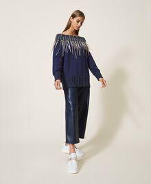 Sweatshirt mit Stickerei und Fransen Blackout Blau Frau 202LI2HAA-0T