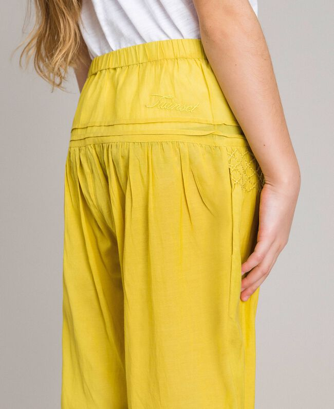 """Cotton voile trousers with embroidery """"Bamboo"""" Yellow Child 191GJ2351-04"""