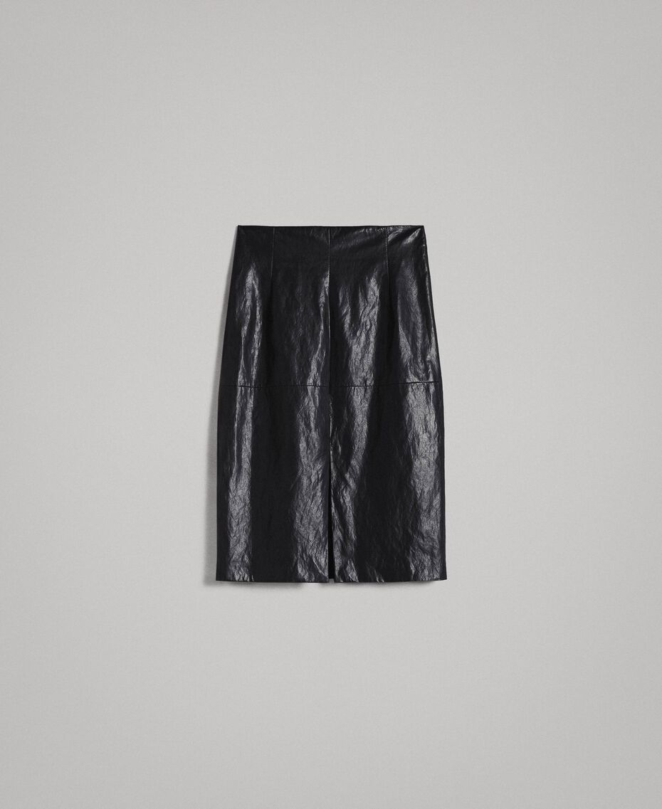 Faux leather mid-length skirt Black Woman 191TP2552-0S