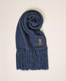 Écharpe avec patch d'étoile et franges Bleu «True Navy» Femme 202TA440C-02