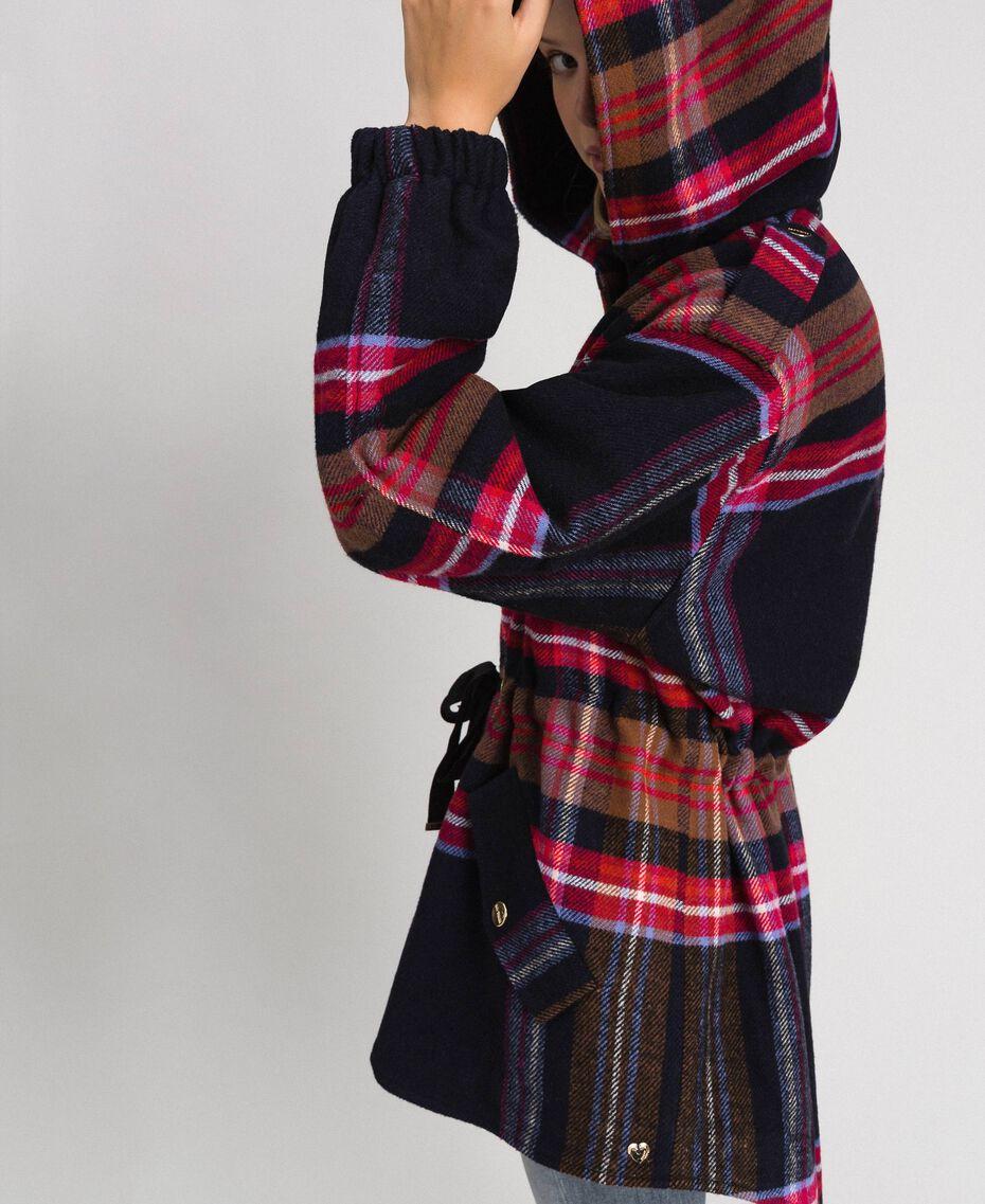Parka in panno check misto lana Quadri Blue Denim Donna 192MT2251-01