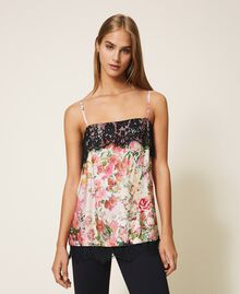 Printed satin top with lace Large Flower Print Woman 202LL2EKK-01