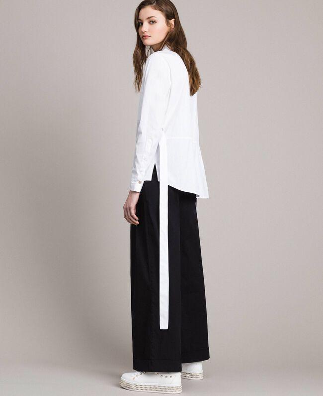 Popeline-Hemd mit Schleifen White Sahne Frau 191MP2216-04