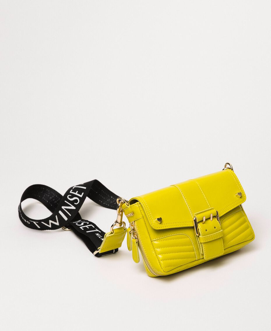 Small Rebel bag with logo shoulder strap Lime Yellow Woman 201TO823U-01