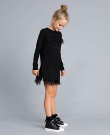 Kleid aus Jersey mit Federn Schwarz Kind GA827A-02
