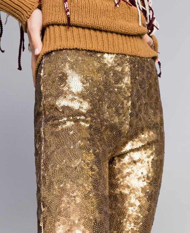 Hose mit Allover-Pailletten Gold Gelb Frau QA8TEF-05