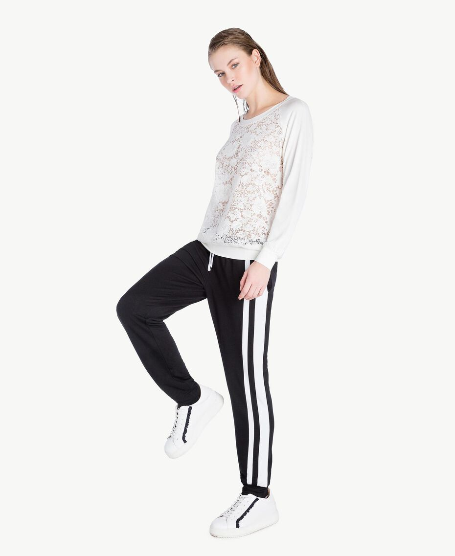 Lace sweatshirt White Woman LS89DD-03