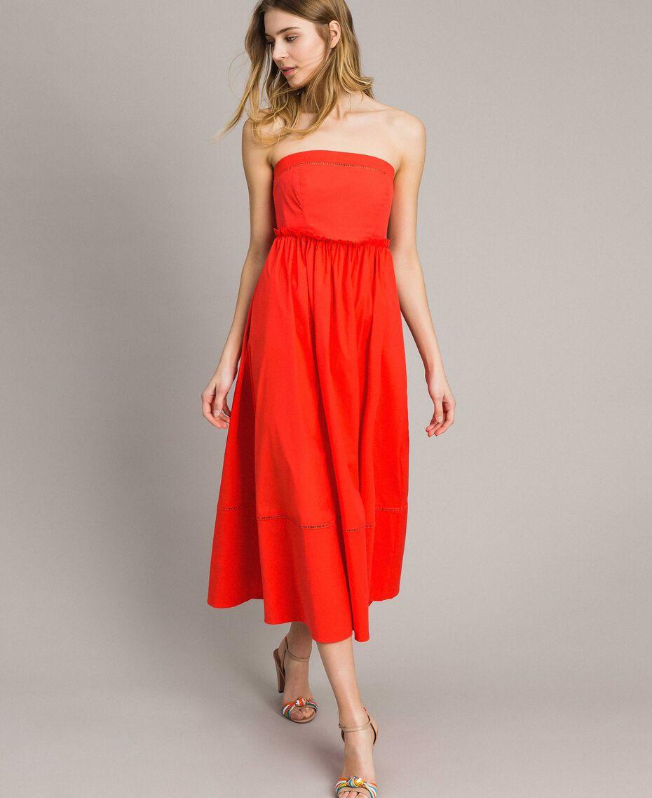 Poplin long bustier dress Granadine Red Woman 191TT2247-01
