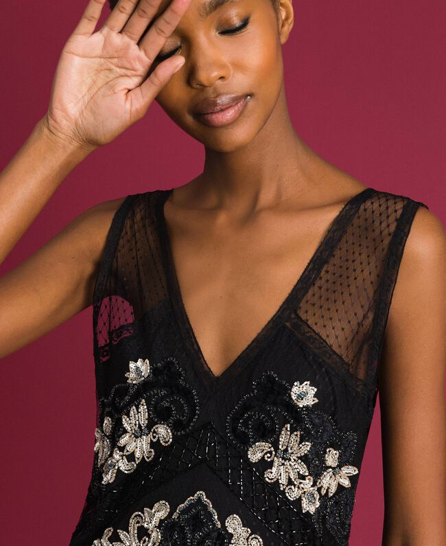 Robe en tulle plumetis avec broderie florale Noir Femme 192TT2042-04