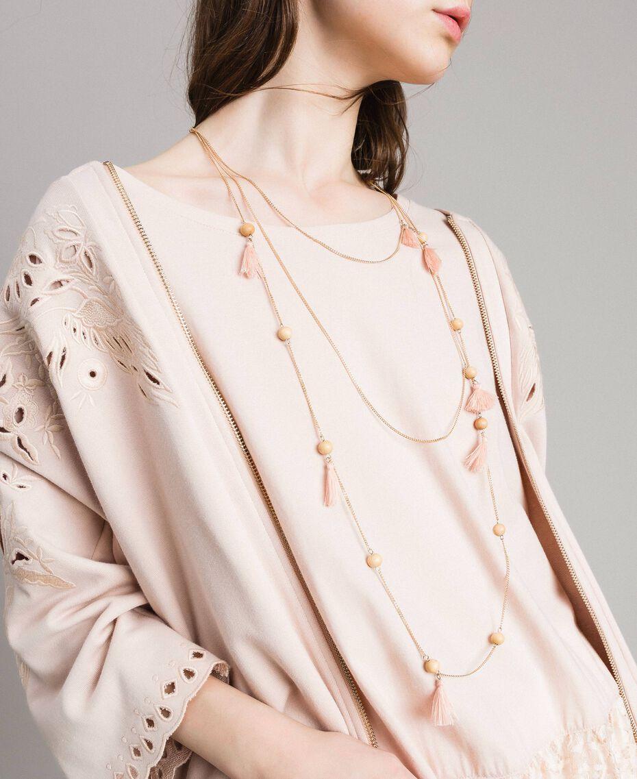 Collier à chaînes multiples orné de pompons Perle Rose Femme 191TA431K-0S