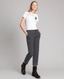 Pantalons cigarette à pois Bicolore Noir / Blanc Femme 191MP2362-02
