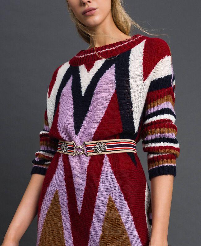 Multicolour elastic belt with stones Burgundy Red Striped / Indigo Woman 192MO5341-0S