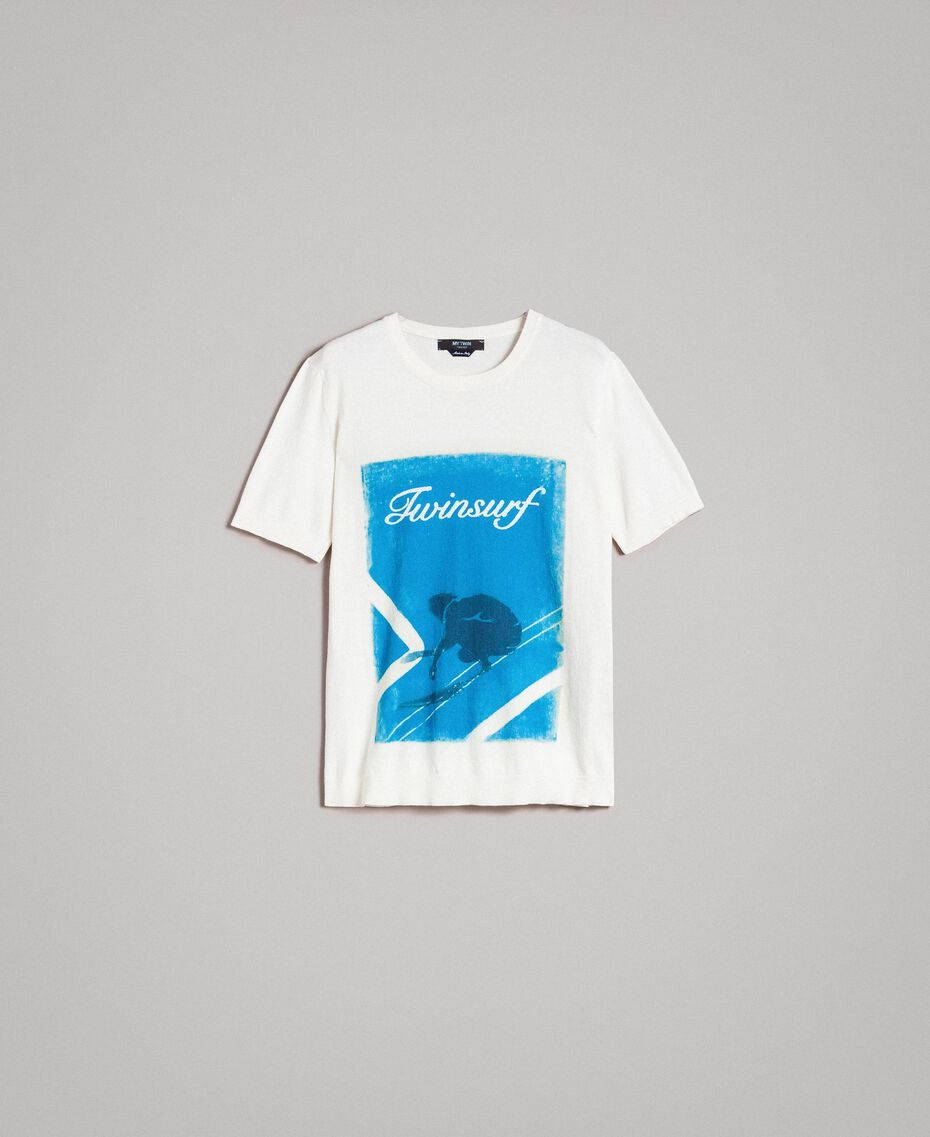 "Crêpe cotton printed T-shirt ""Twinsurf"" Bay Blue Print Man 191UT3050-0S"