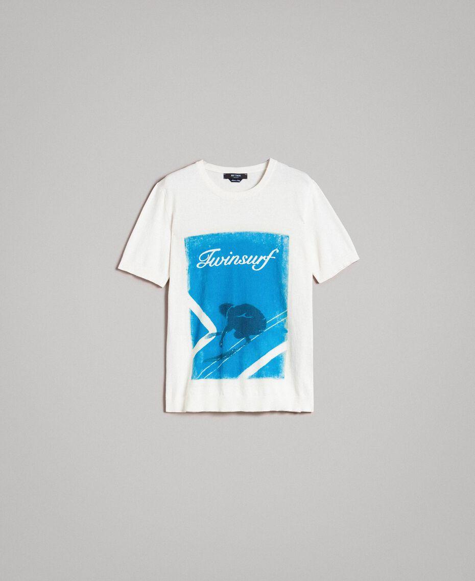 """T-shirt en crêpe de coton avec imprimé Imprimé Bleu Baie """"Twinsurf"""" Homme 191UT3050-0S"""
