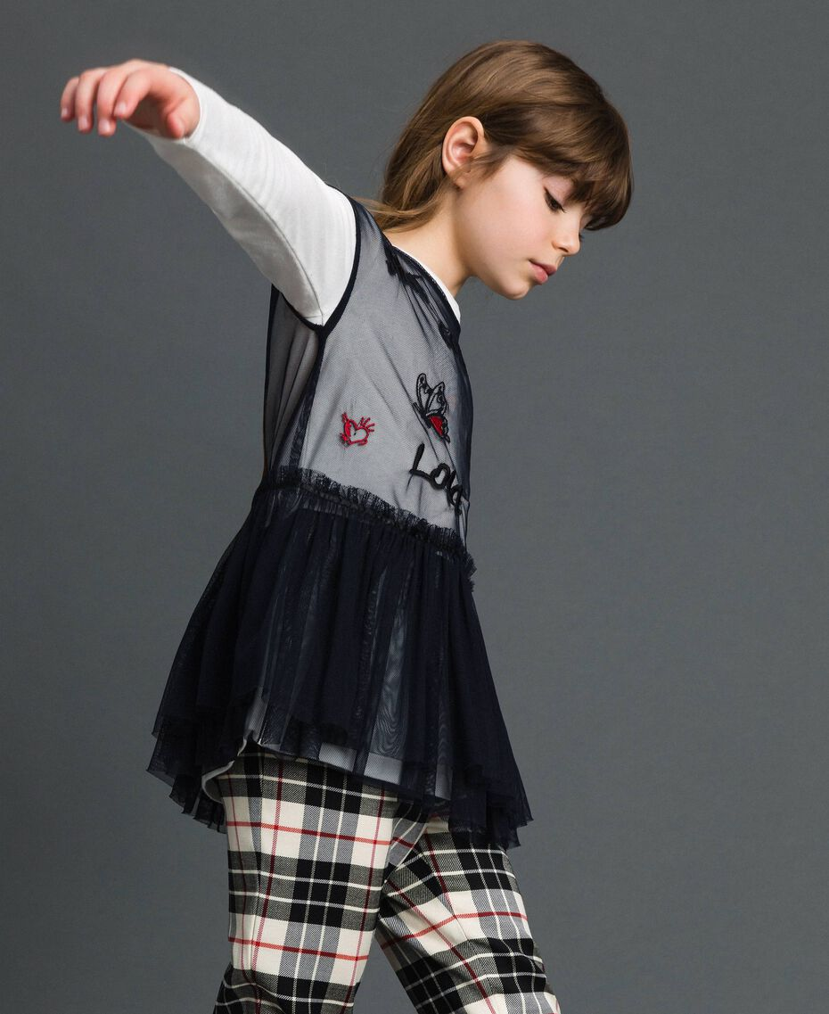 Tulle blouse with embroideries and T-shirt White / Black Child 192GJ2434-02