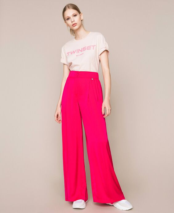 Flowing satin palazzo trousers