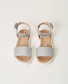 Laminated leather sandals with glitter Laminated Silver Grey Child 211GCB100-05