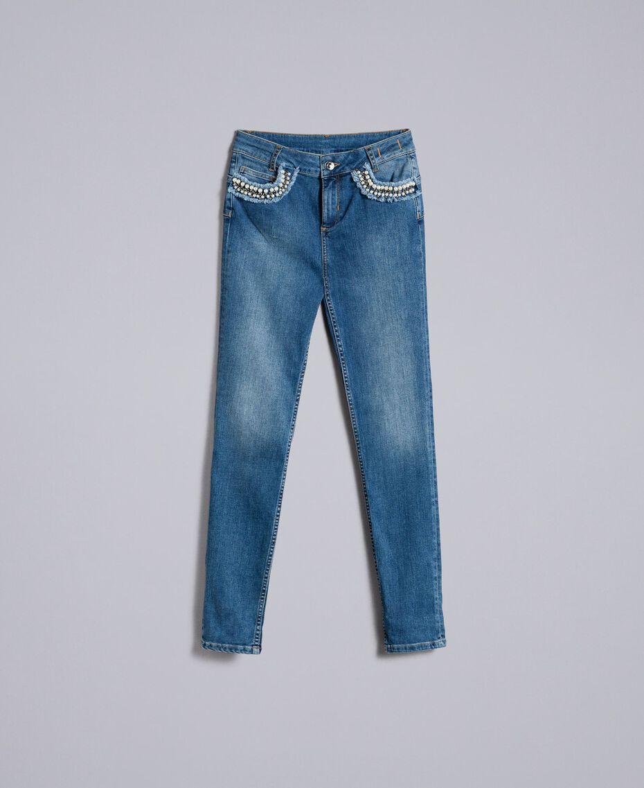 Jean skinny avec broderie Bleu Denim Femme JA82V4-0S