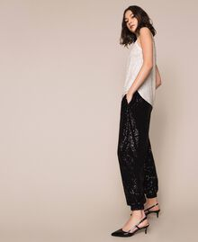 Full sequin and crystal bead top Ivory Woman 201TP2052-02