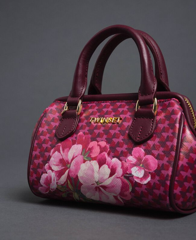 Mini-Bauletto-Tasche aus bedrucktem Lederimitat Schmetterling-Blumen-Print Rote-Bete-Rot Frau 192TA7018-04