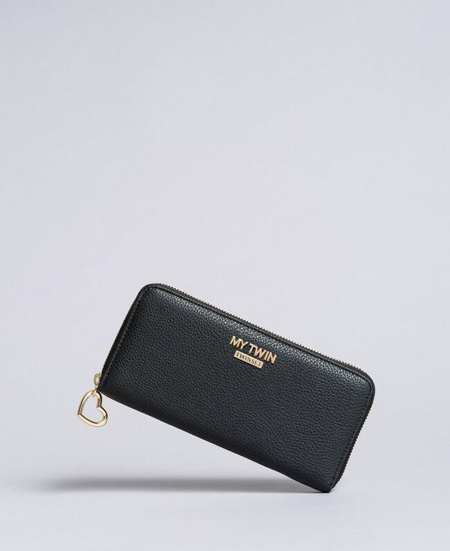 Geldbörse aus Lederimitat Schwarz Frau VA8PA5-01