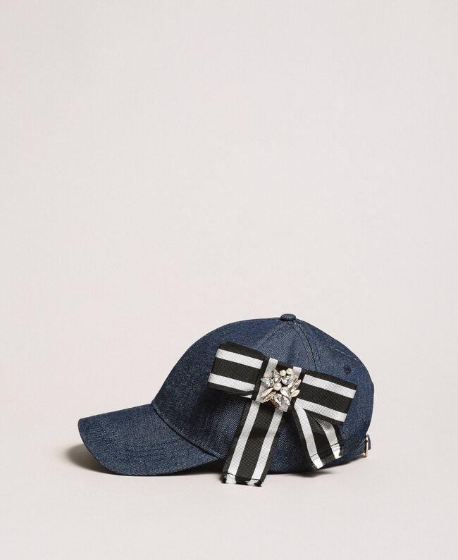 Denim hat with cockade Dark Denim Woman 191MA4320-01