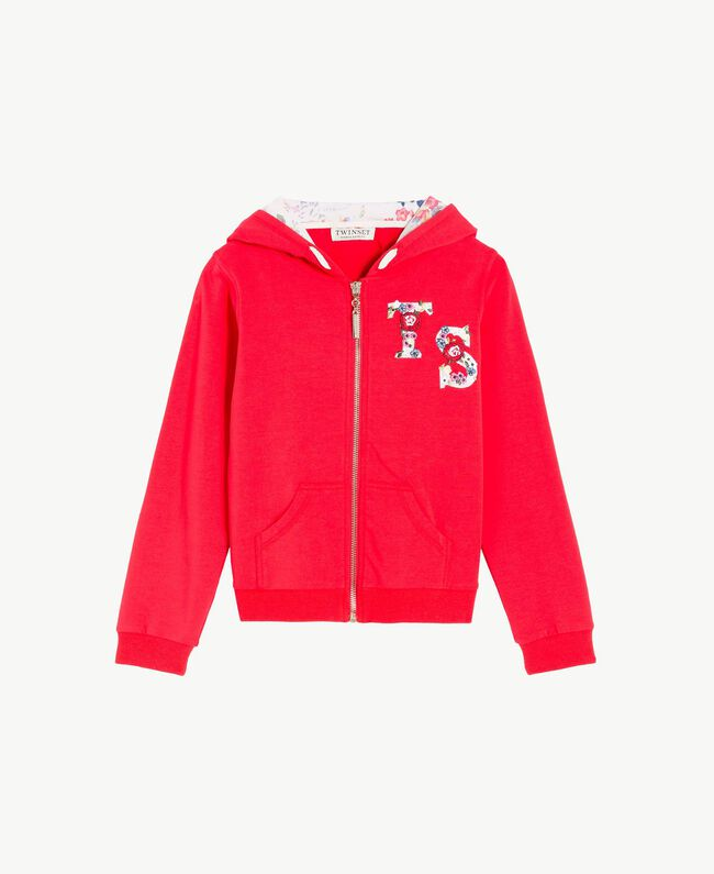 Sweat-shirt logo Bicolore Rouge Grenadier / Fleurs Chantilly Enfant GS82SN-01