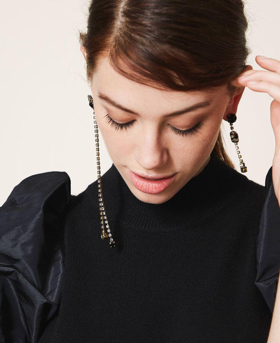 Asymmetric earrings with bows Black Diamond Grey Woman 202TA4302-0S