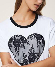 T-shirt avec cœur en dentelle Blanc Femme 202LI2NAA-04